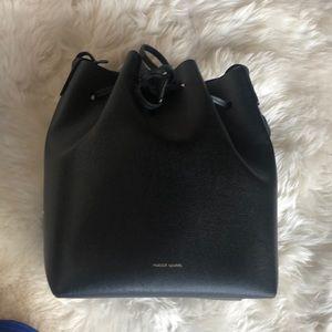Mansur Gavriel Safiano Bucket Bag in Black/Royal